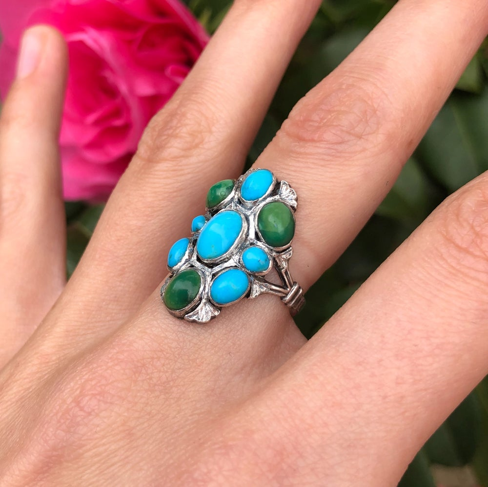 Antique Silver Arts & Crafts Egyptian Revival Turquoise Lotus Flower Ring