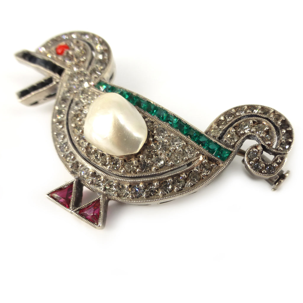 Antique Art Deco French Silver Paste Duck Brooch