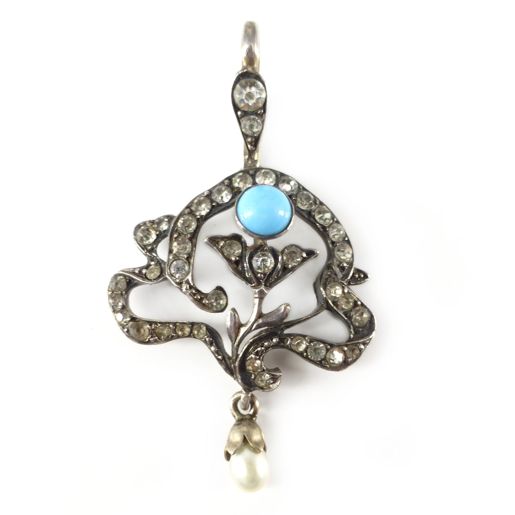 Antique French Art Nouveau Silver Paste Blue Glass Pearl Pendant Necklace