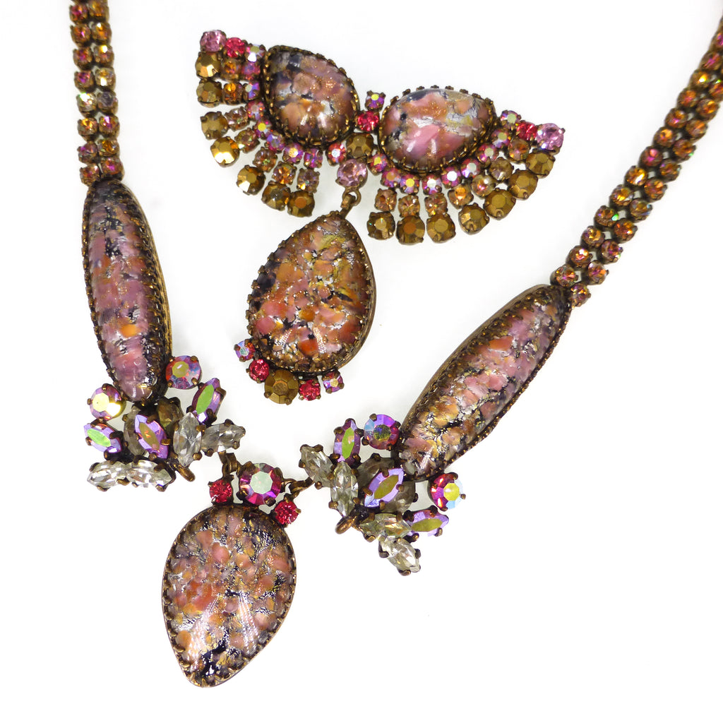Vintage Mid Century Austrian Pink & Gold Paste Glass Necklace & Brooch Set