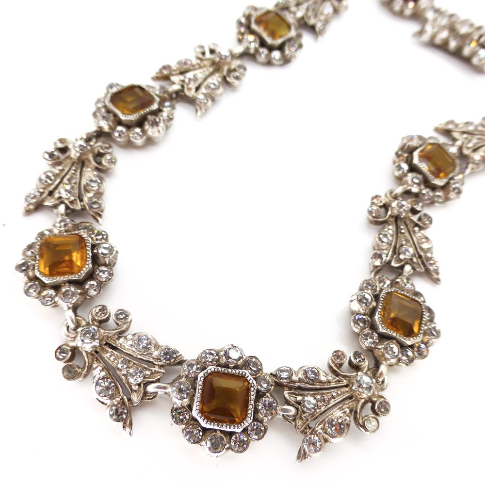 Antique French Victorian Citrine Glass Paste Floral Panel Necklace