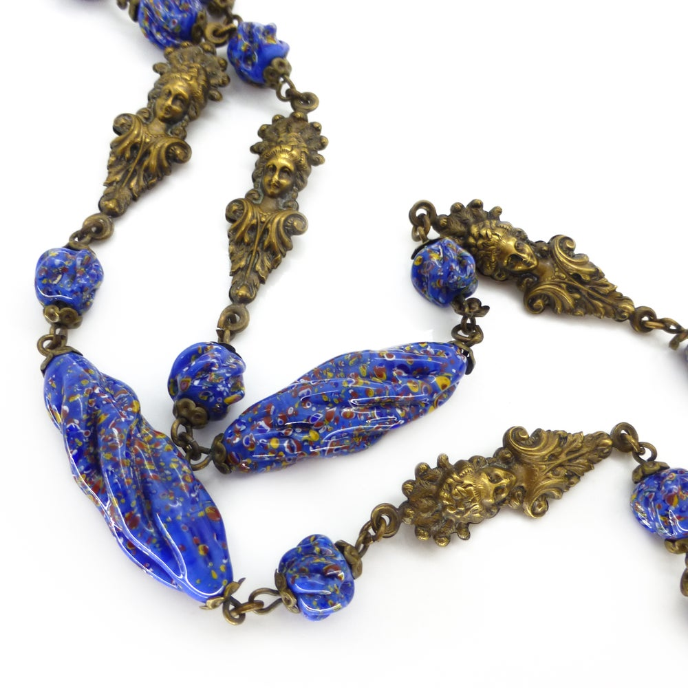 Vintage Art Deco Czech Figural Elizabethan Lady Blue Millefiori Glass Bead Necklace