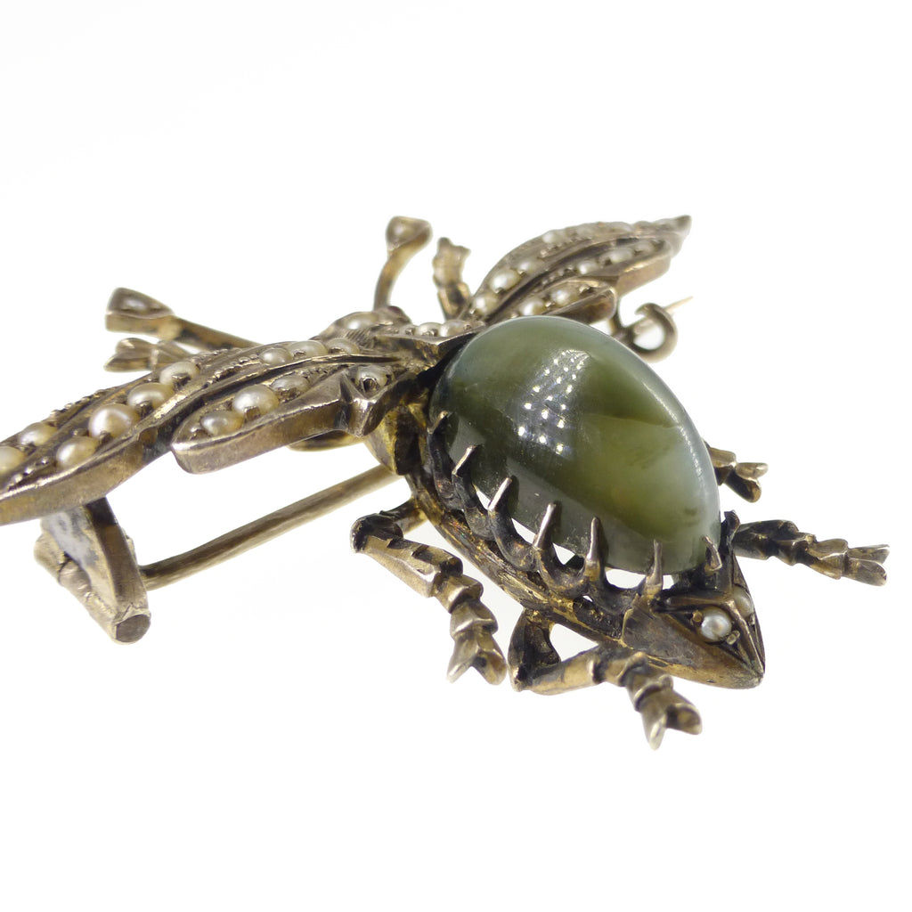 Antique Victorian Silver Chrysoberyl Cat's Eye Pearl Bug Brooch