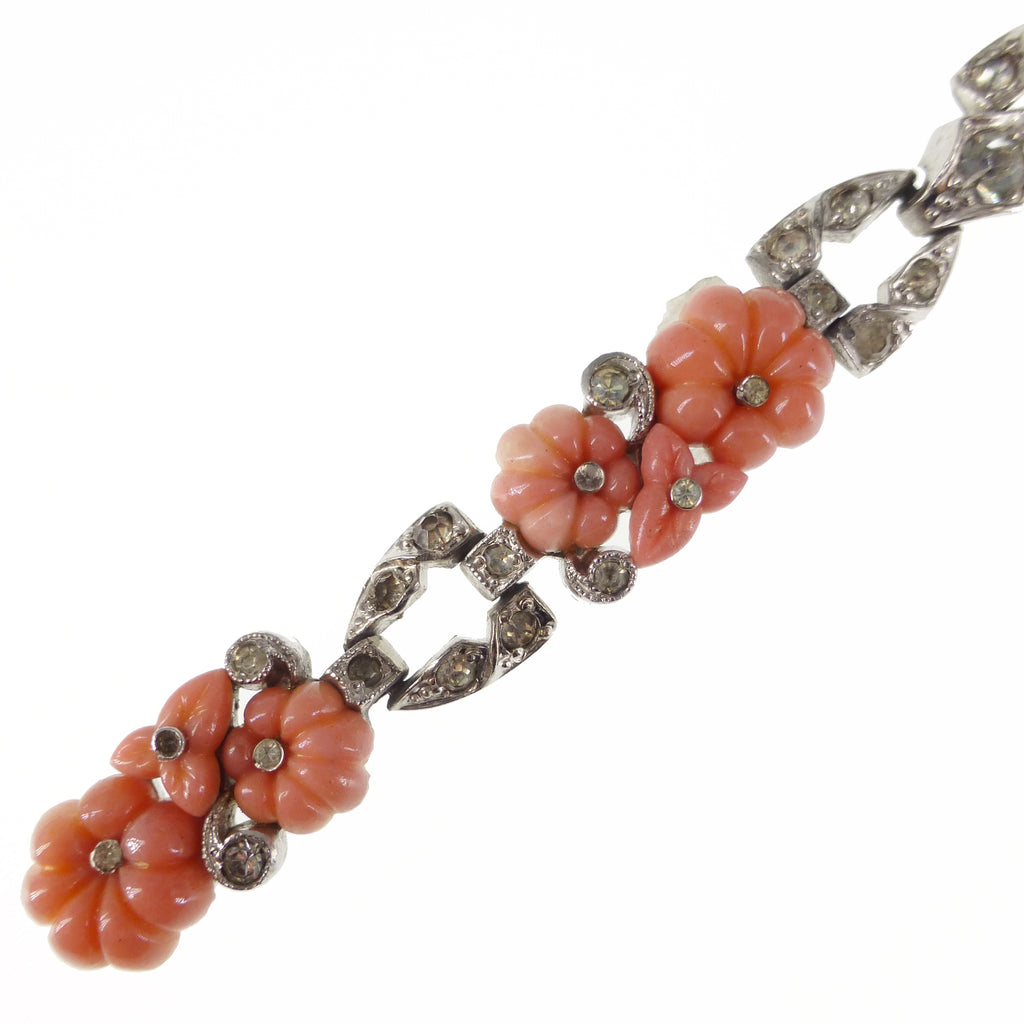Vintage Art Deco Trifari KTF Fruit Salad Coral Glass Paste Bracelet