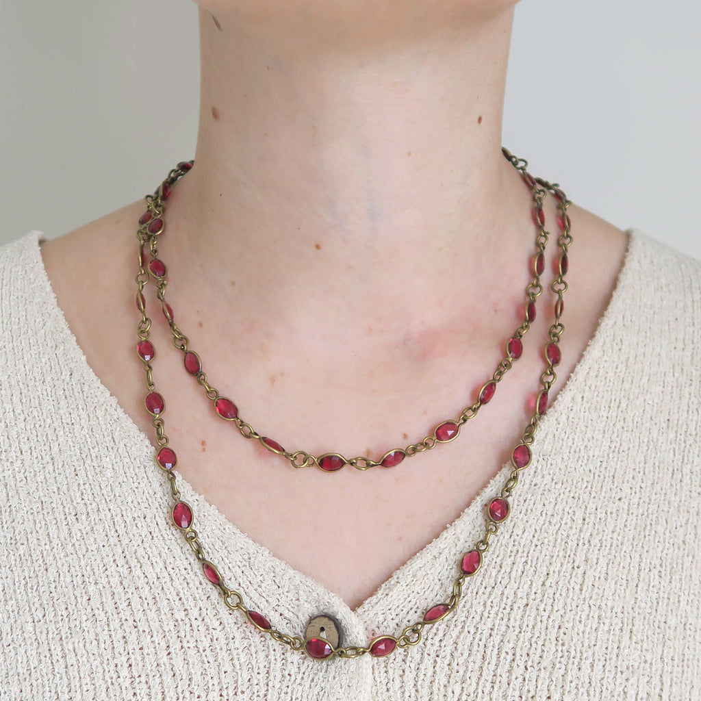 Antique Art Deco Cranberry Red Glass Long Guard Chain Necklace