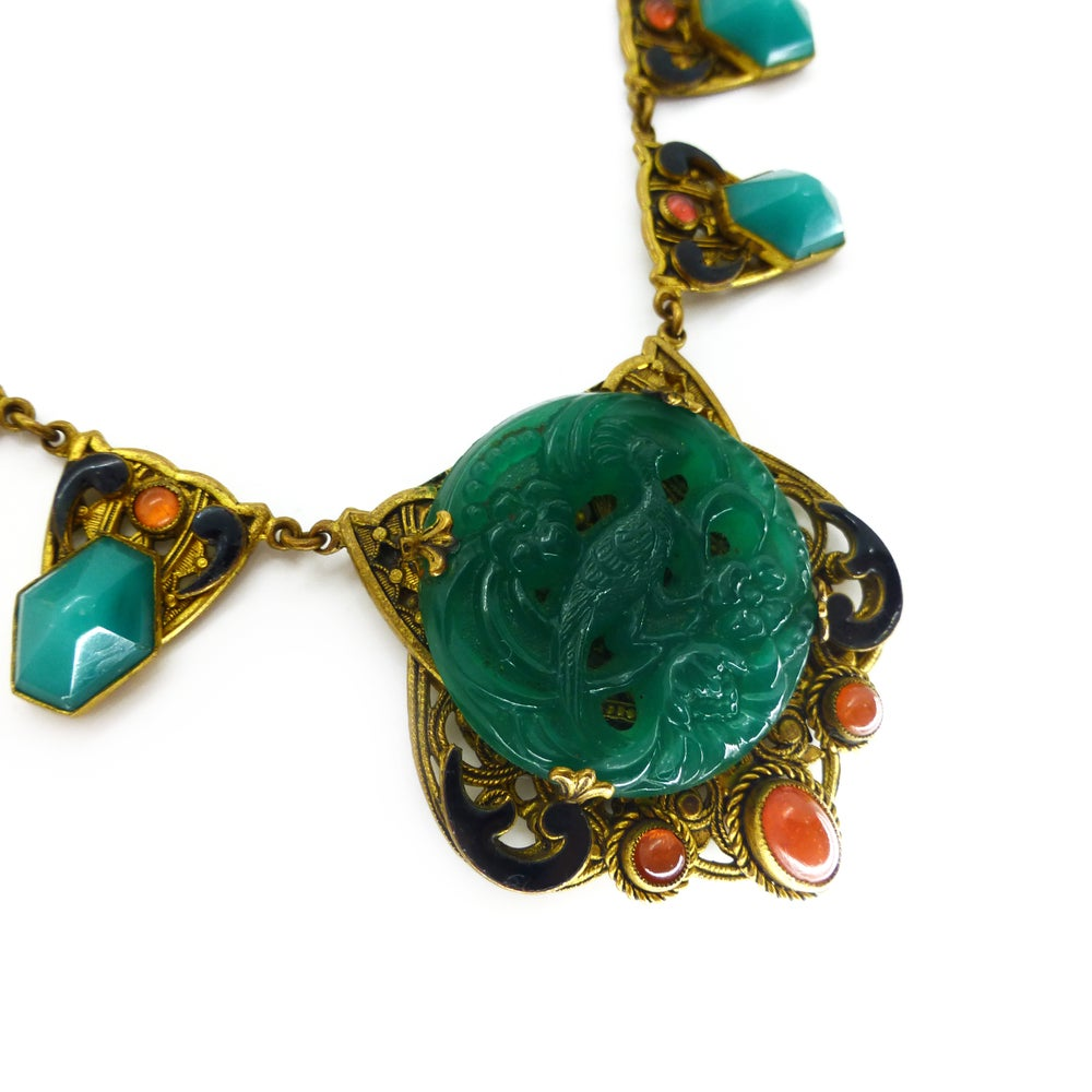 Vintage Art Deco Czech Peach & Green Glass Peacock Cabochon Filigree Panel Necklace