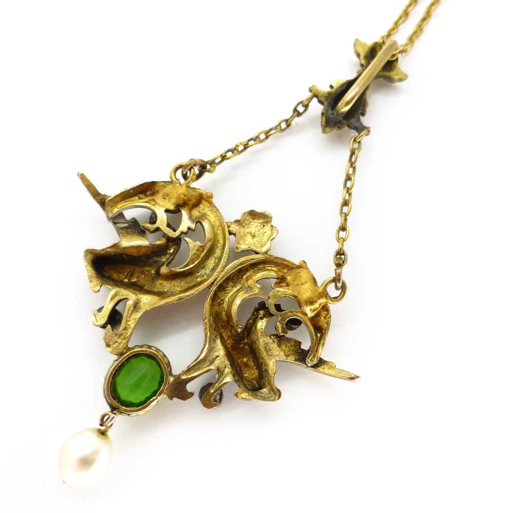 Antique Art Nouveau Gold Filled Figural Dragons Head Paste & Pearl Necklace