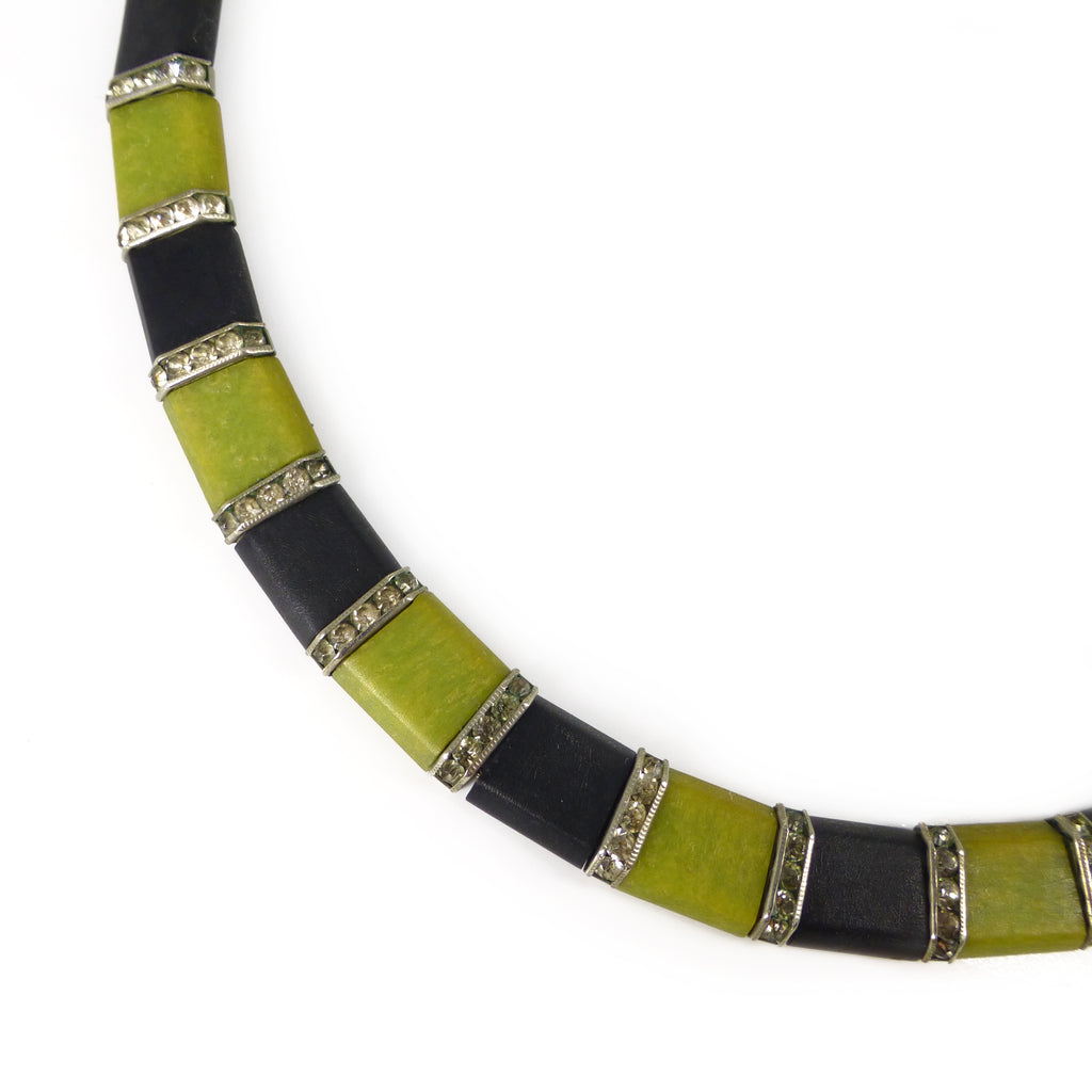 Antique Art Deco DRGM Green & Black Galalith Rhinestone Panel Collar Necklace