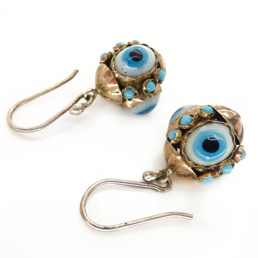 Antique Victorian 9ct Gold Evil Eye Glass Drop Earrings