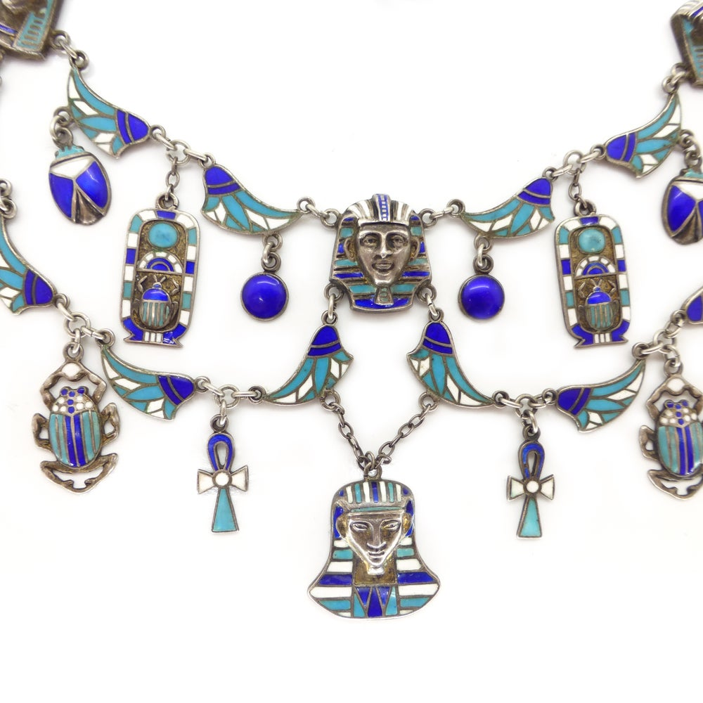Antique Art Deco French Silver Enamel Egyptian Revival Pharaoh Lotus & Scarab Panel Necklace