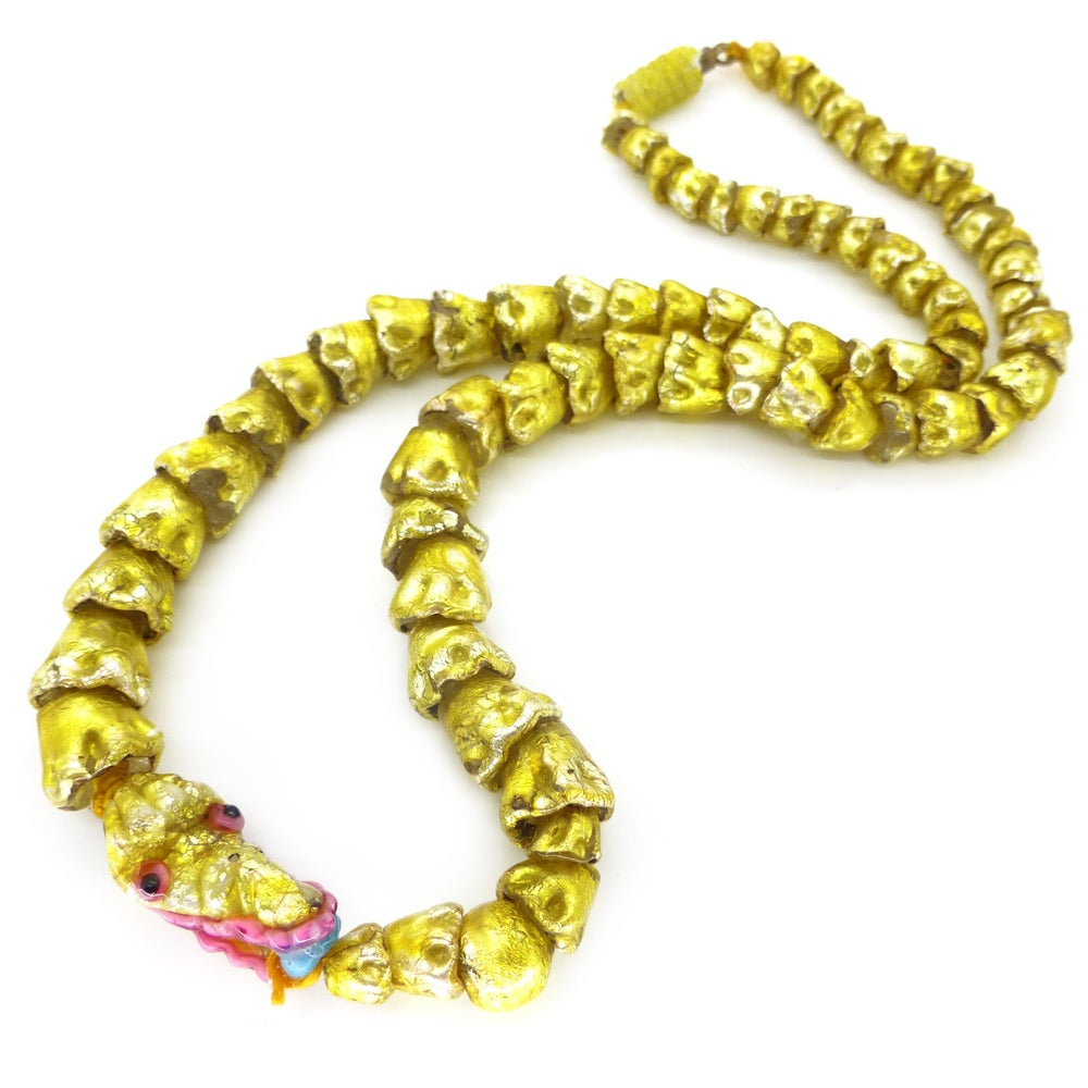 Antique Venetian Franchini Gold Chinese Dragon Foil Oriental Lampwork Glass Bead Necklace