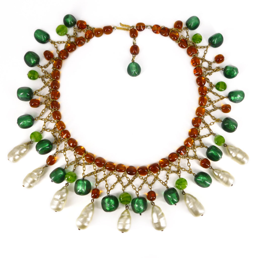 Vintage Mid Century Amber Green Lucite & Glass Pearl Drop Statement Necklace