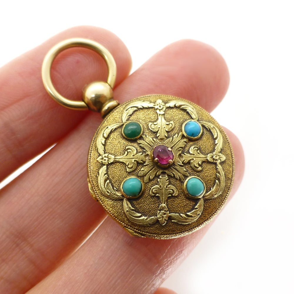 Antique 9ct Gold Turquoise & Ruby Engraved Locket Swiss Pocket Watch Case - Abraham Vacheron Girod