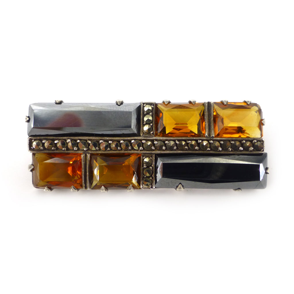 Antique Art Deco German Haematite & Citrine Glass Geometric Brooch