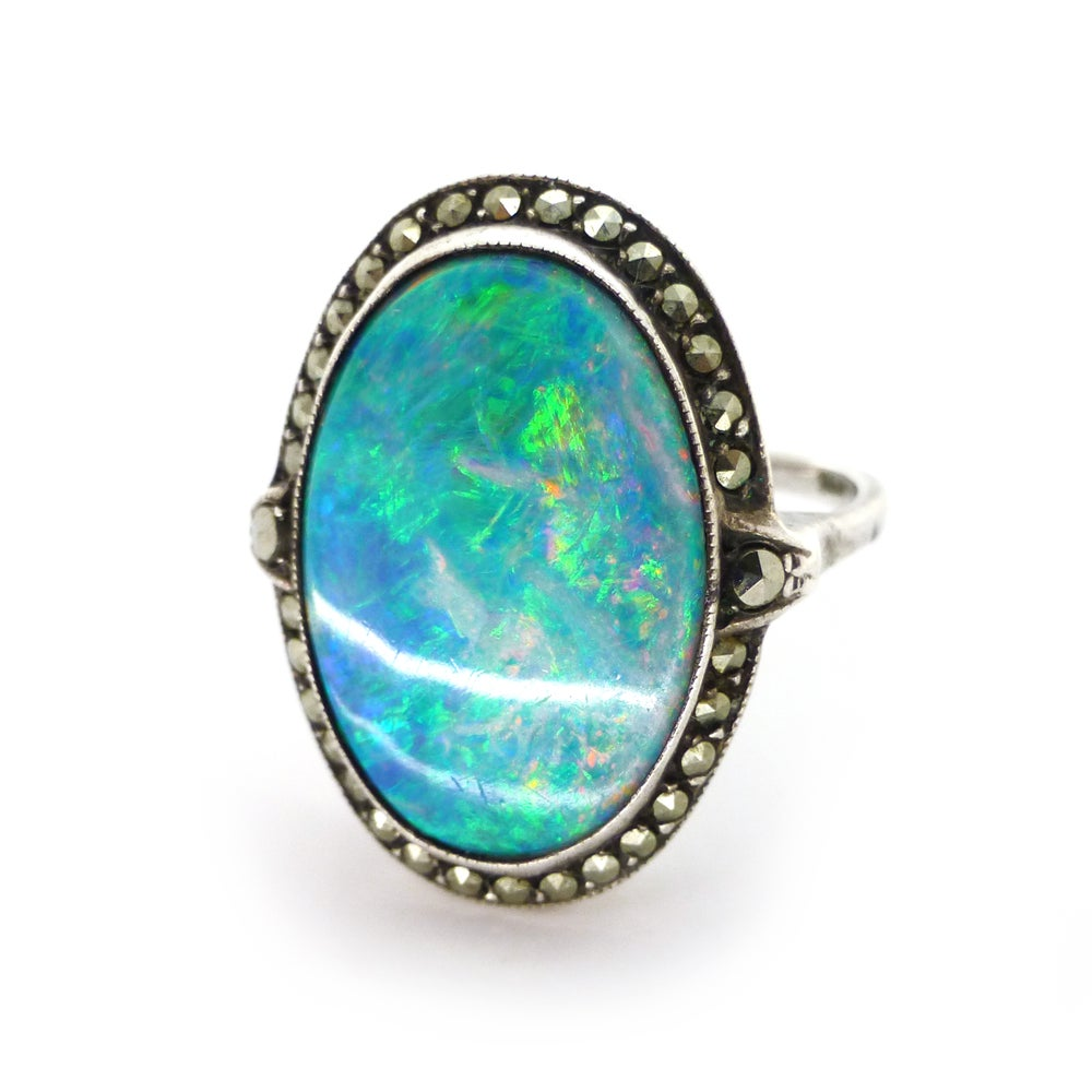 Antique Art Deco Silver Oval Opal Doublet Marcasite Ring