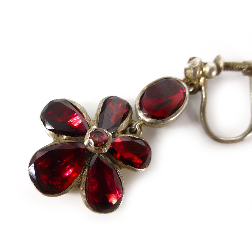 Antique Georgian Silver Foiled Garnet Glass Pansy Screw Back Earrings
