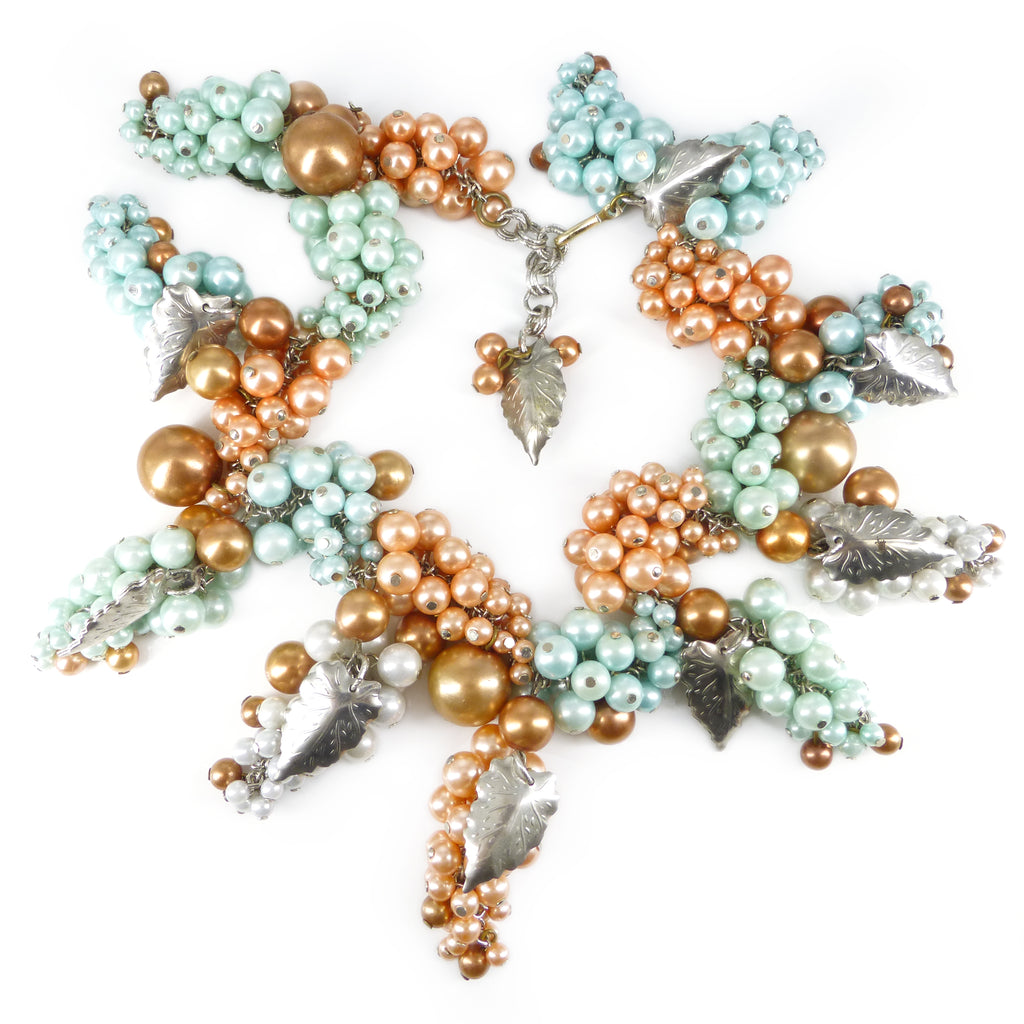 Vintage 1950s Pastel Blue & Peach Grape Cluster Necklace