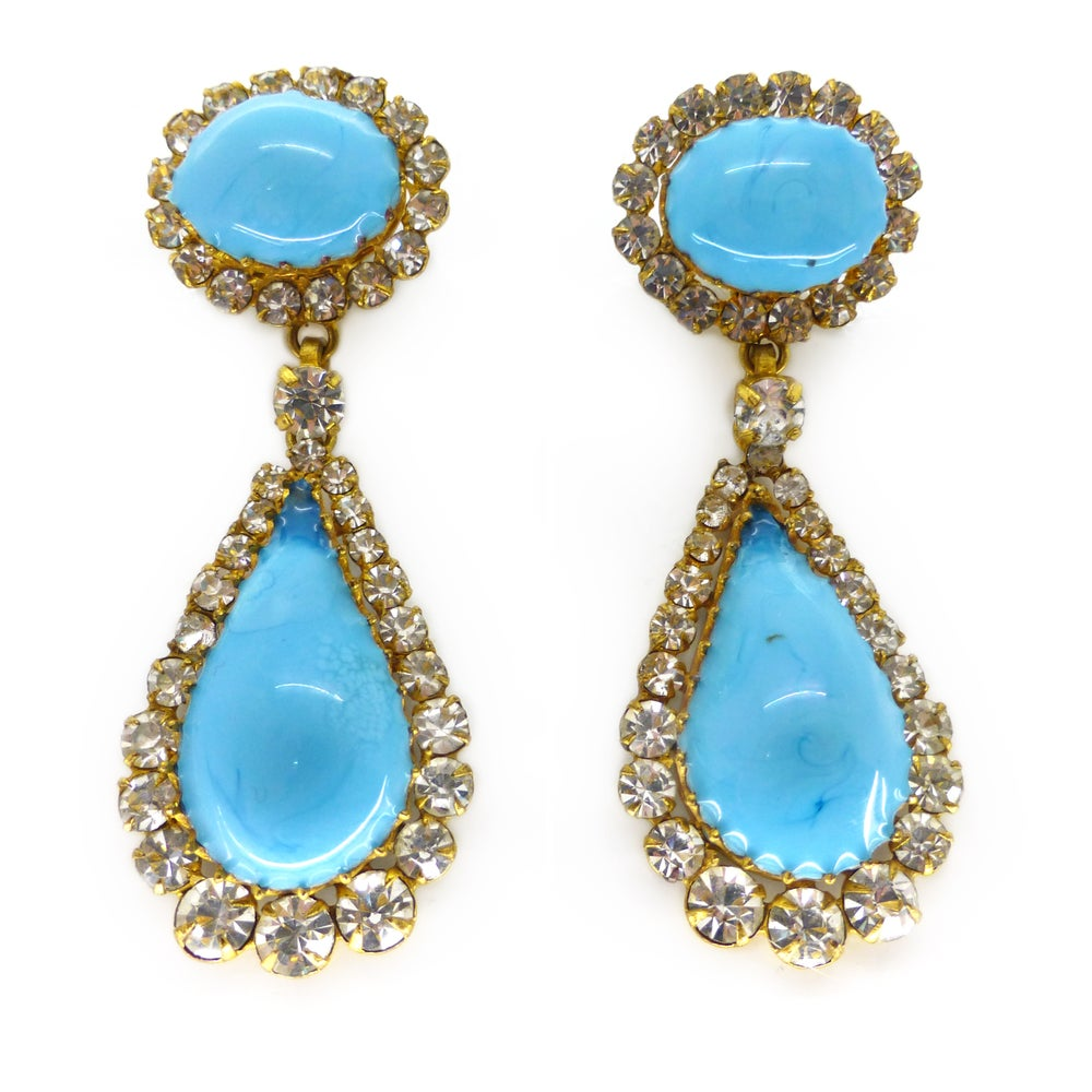 Vintage 1950s French Blue Gripoix Glass Rhinestone Statement Earrings