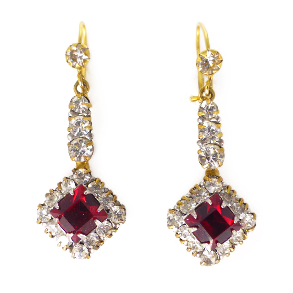 Vintage Mid Century 9ct Gold Red Paste Gold Filled Drop Earrings