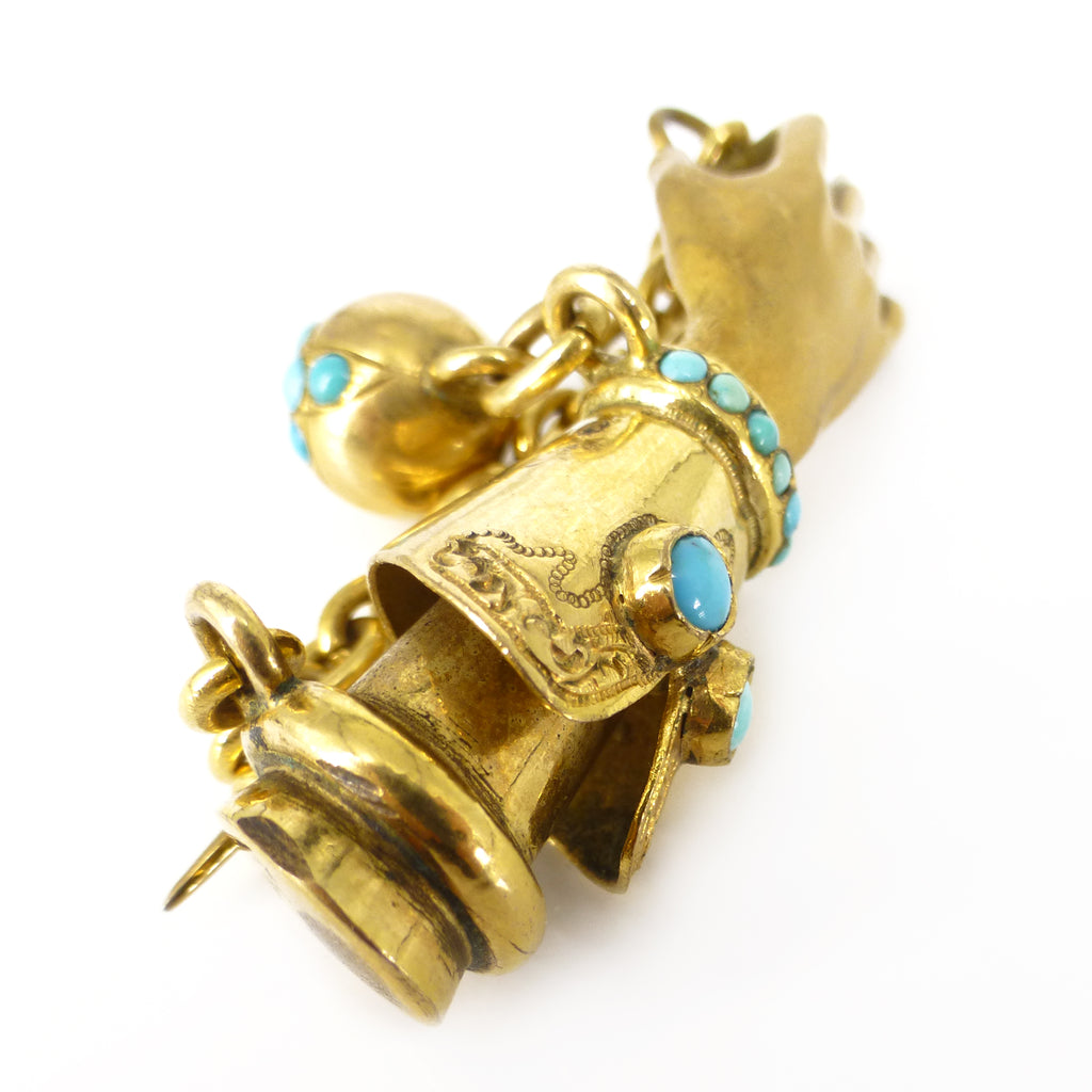 Antique Victorian 15ct Gold & Brass Turquoise Gloved Hand Brooch