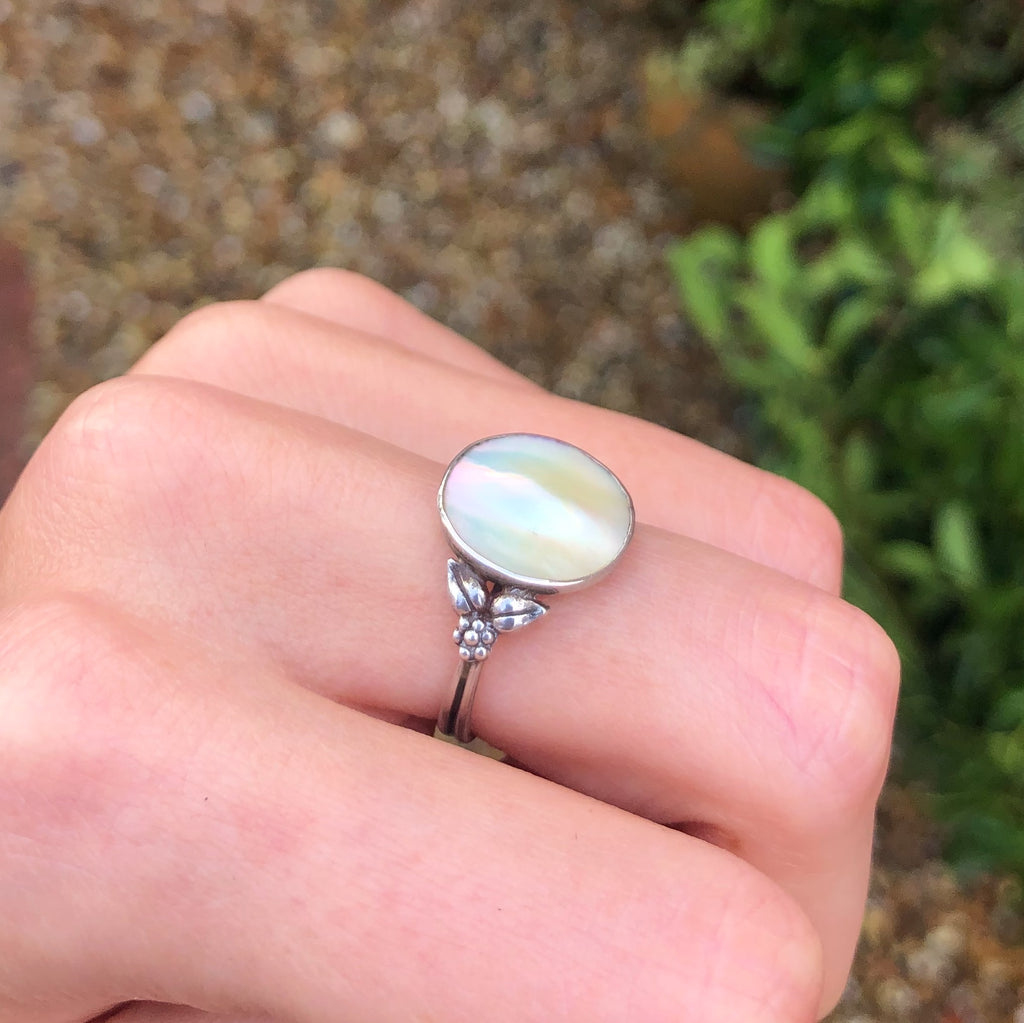 Antique Silver Bernard Instone Arts & Crafts Blister Pearl Ring