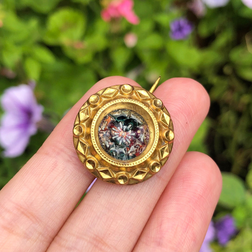 Antique Georgian Tudor Rose Gold Filled Glass Brooch