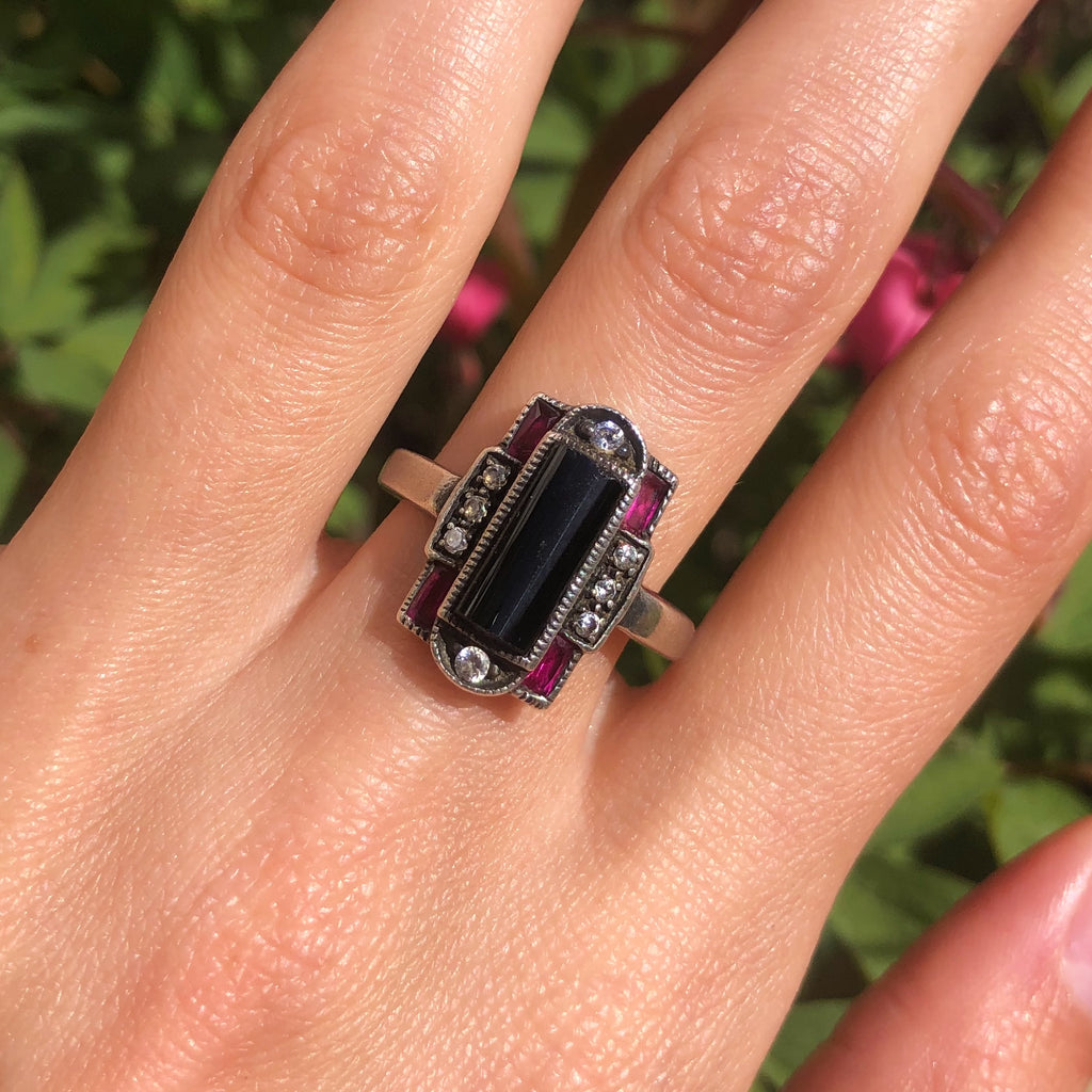 Vintage Silver Art Deco Style Black & Pink Glass Paste Statement Ring