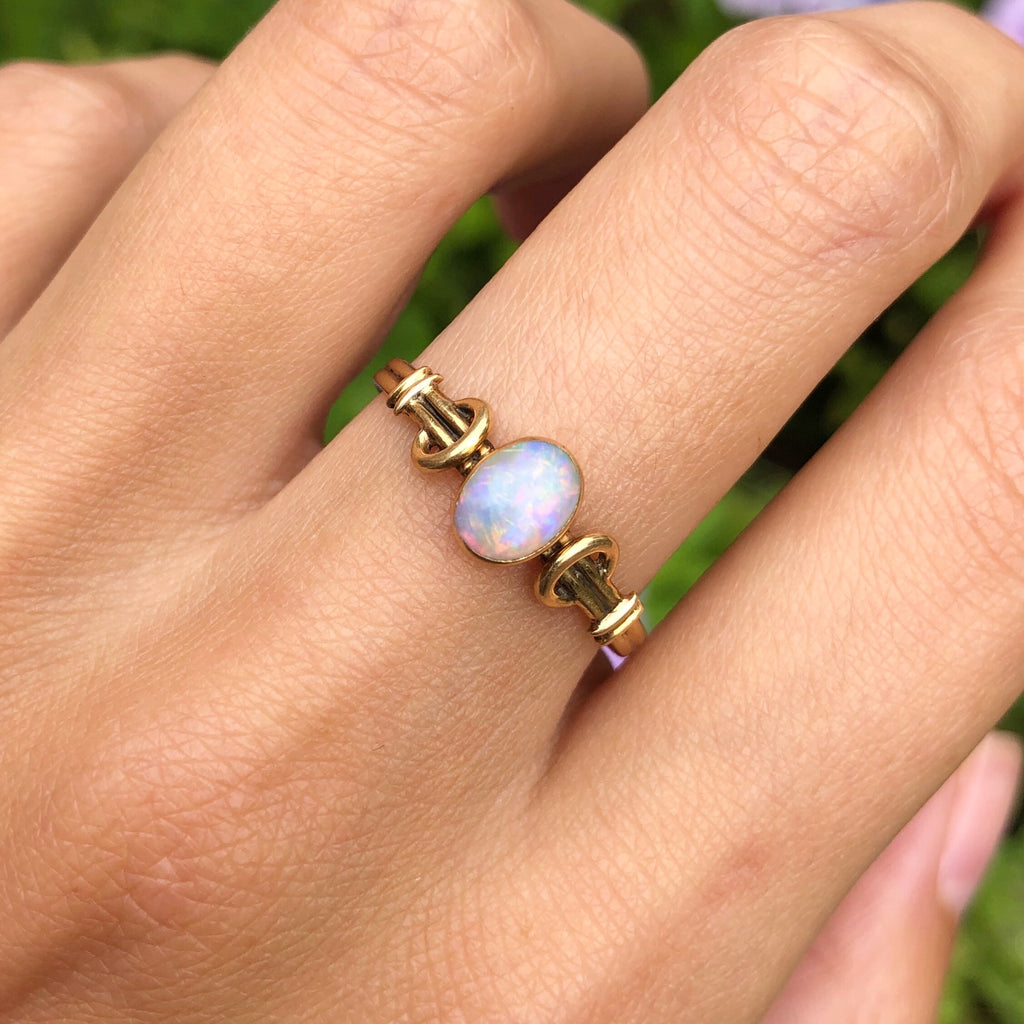 Antique Art Nouveau 18ct Gold Opal Engagement Ring