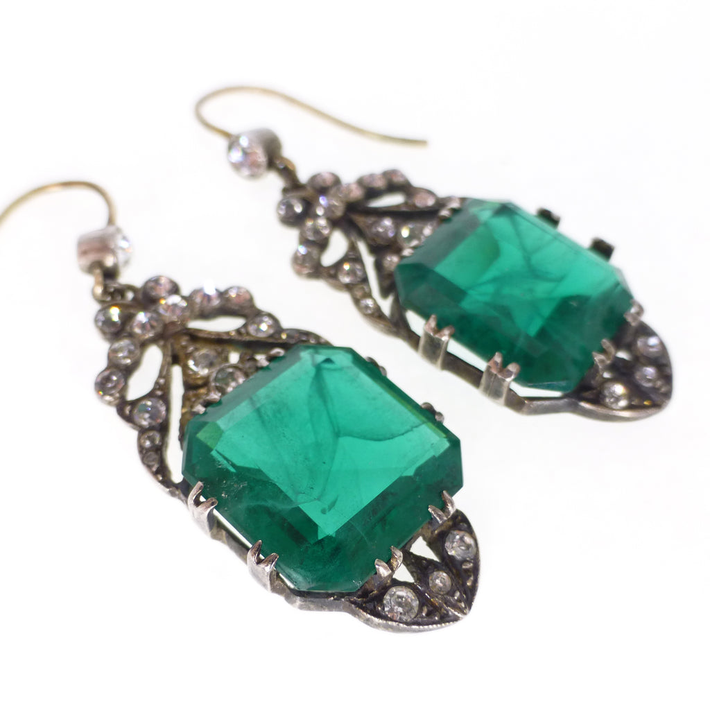 Antique Victorian Revival Lazarus Paste Green Gold & Silver Earrings