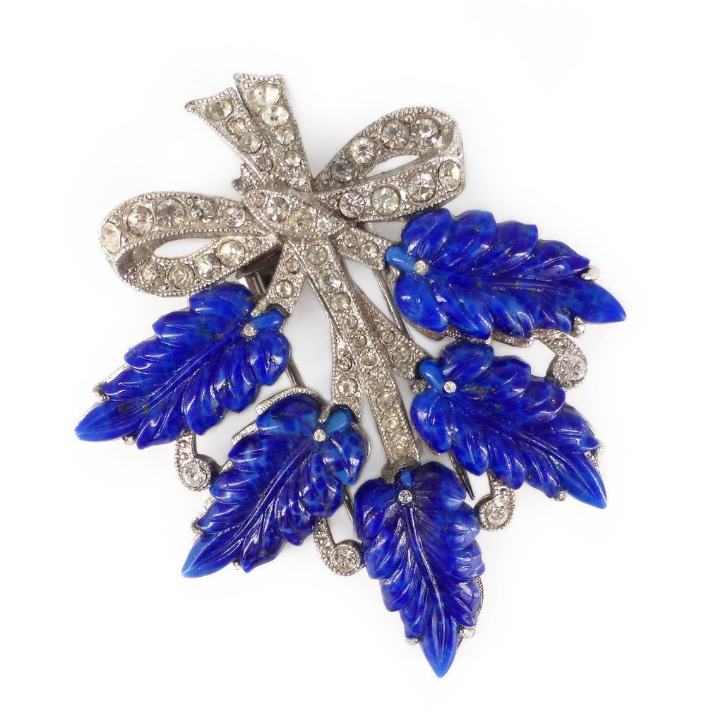 Vintage Art Deco Blue Lapis Glass Leaf Paste Fur Clip