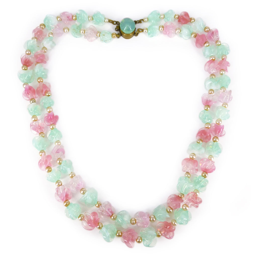 Vintage French Mid Century Pink & Green Opaline Floral Glass Necklace