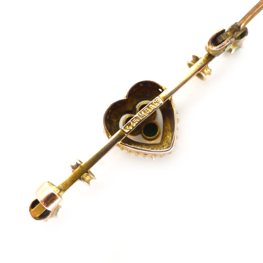Antique Murrle Bennett 9ct Gold Turquoise Pearl Heart Bar Brooch