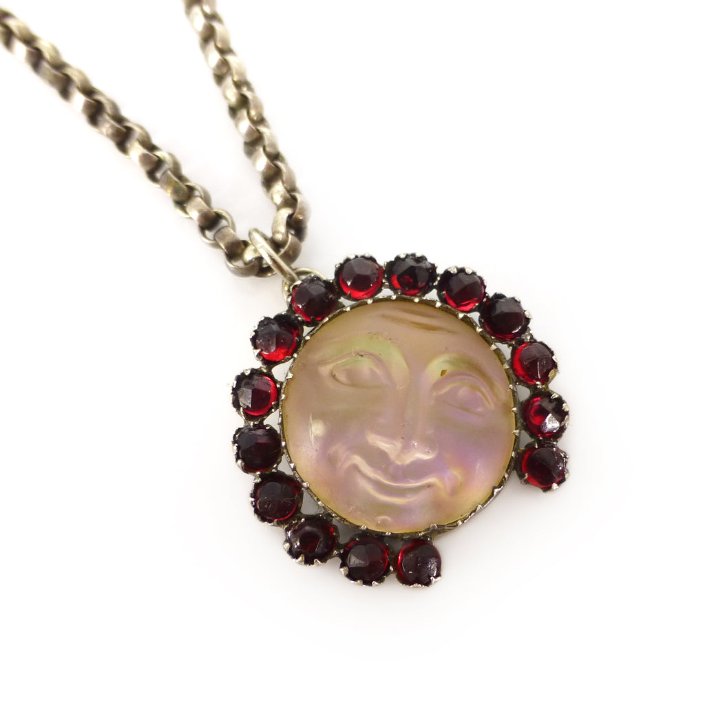 Antique Edwardian Czech 'Man In The Moon' Opalescent Glass Pendant Necklace