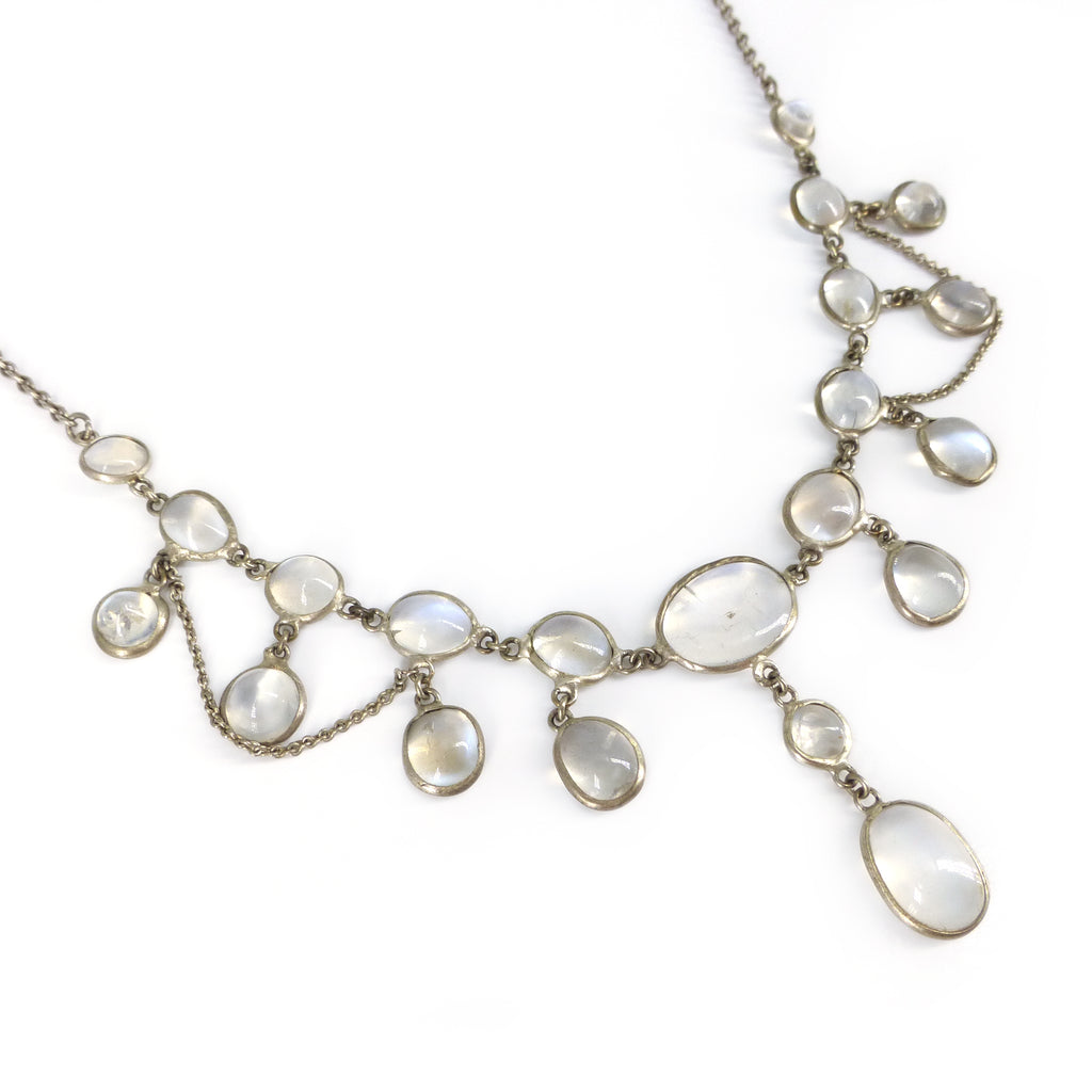 Antique Edwardian Silver Moonstone Festoon Drop Necklace