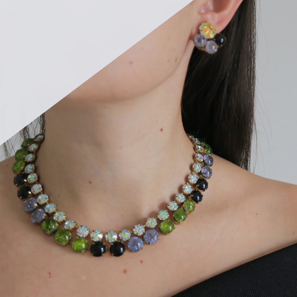 Vintage Mid Century Countess Cis Zoltowska Purple & Green Crackle Glass Necklace Earrings Set