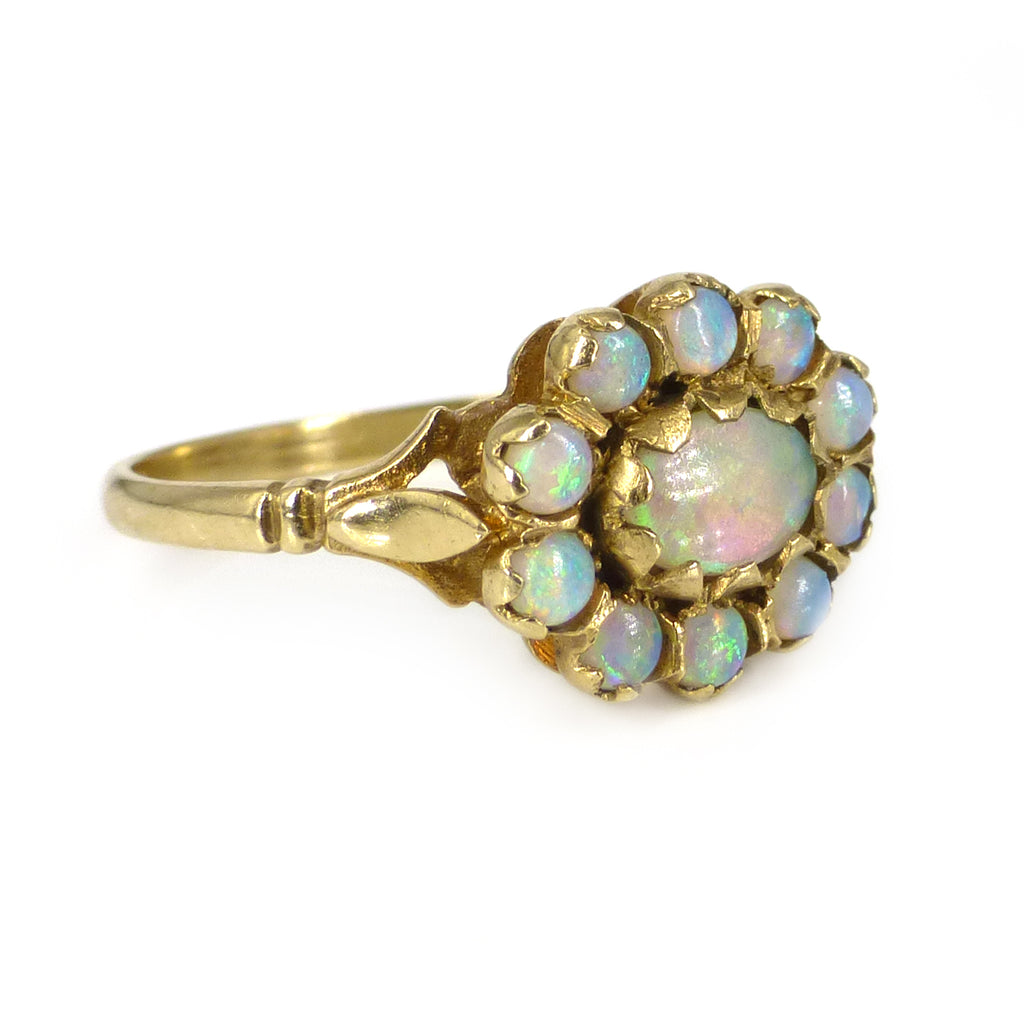 Vintage 9ct Gold Opal Floral Cluster Engagement Ring