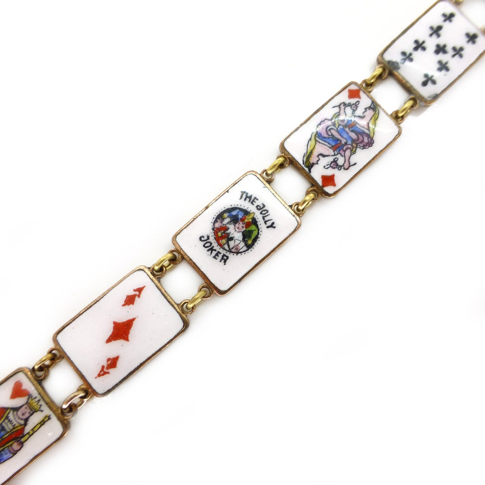 Antique Victorian French Enamel Playing Card Lucky Charm Bracelet