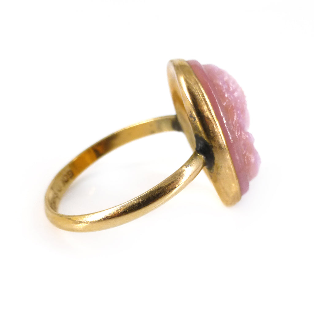 Antique Edwardian Rolled 9ct Gold Pink Glass Cameo Ring
