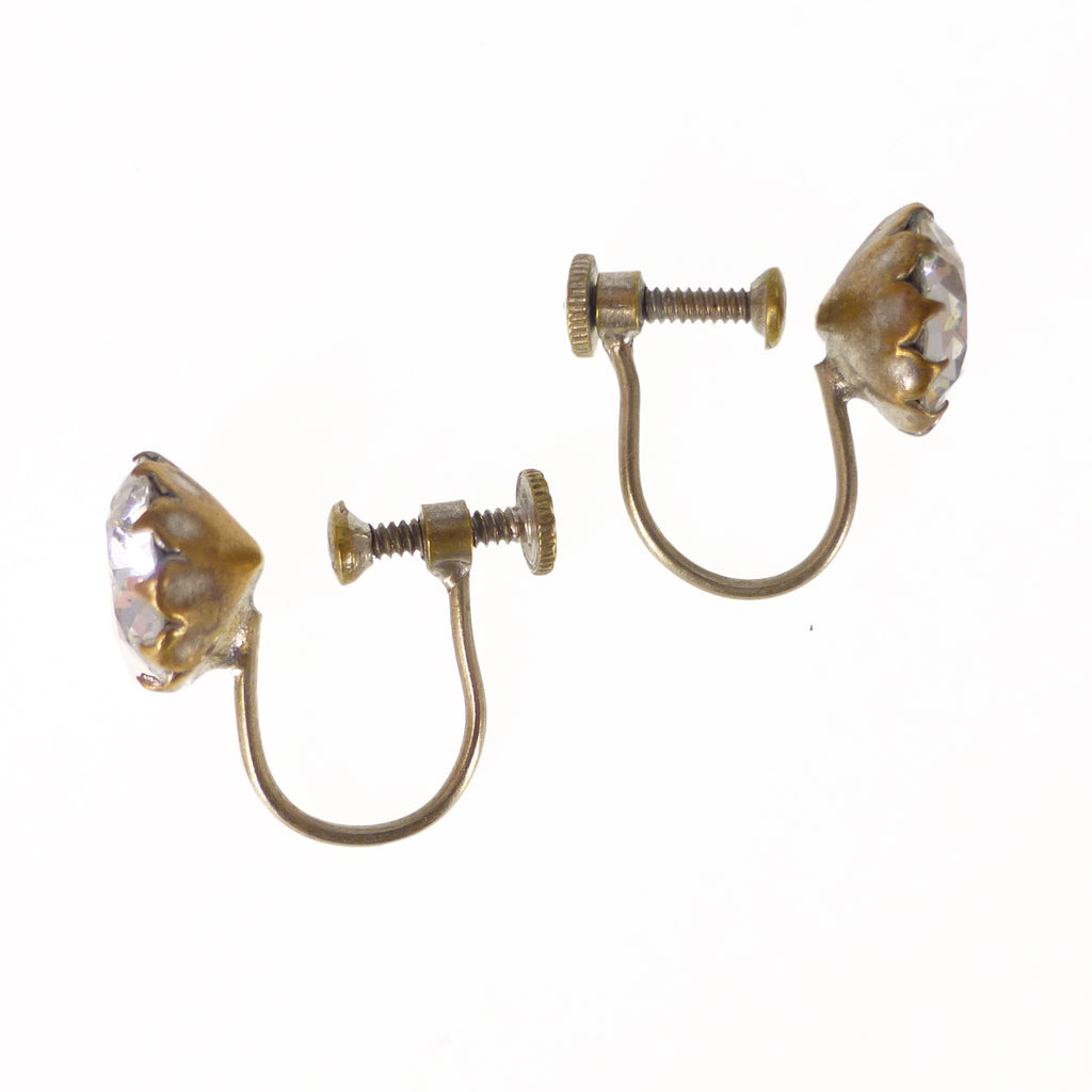 Vintage Mid Century Gold Chain Pearl Drop Clip Earrings
