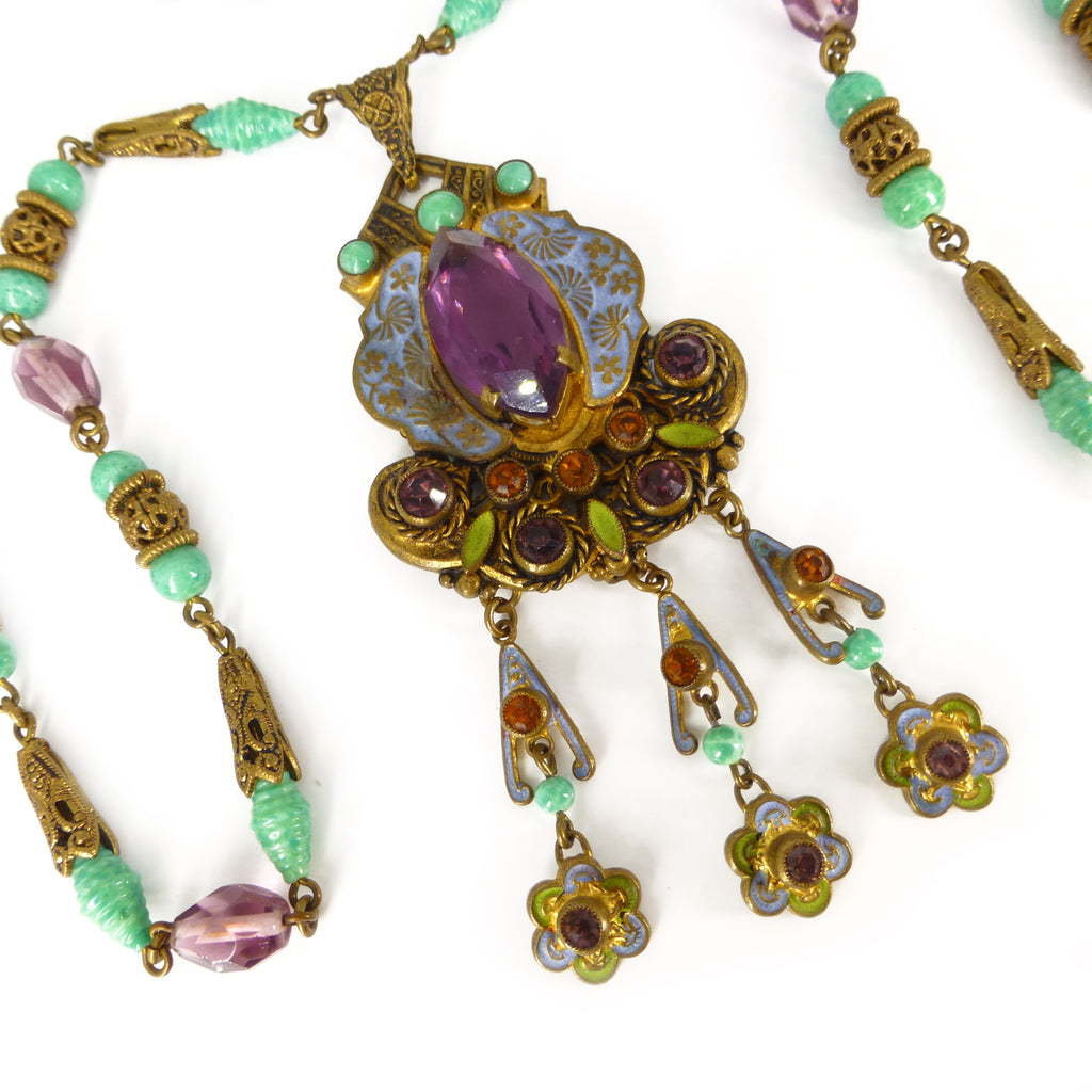 Antique Art Deco Czech Neiger Brothers Oriental Enamel Purple & Green Bead Necklace