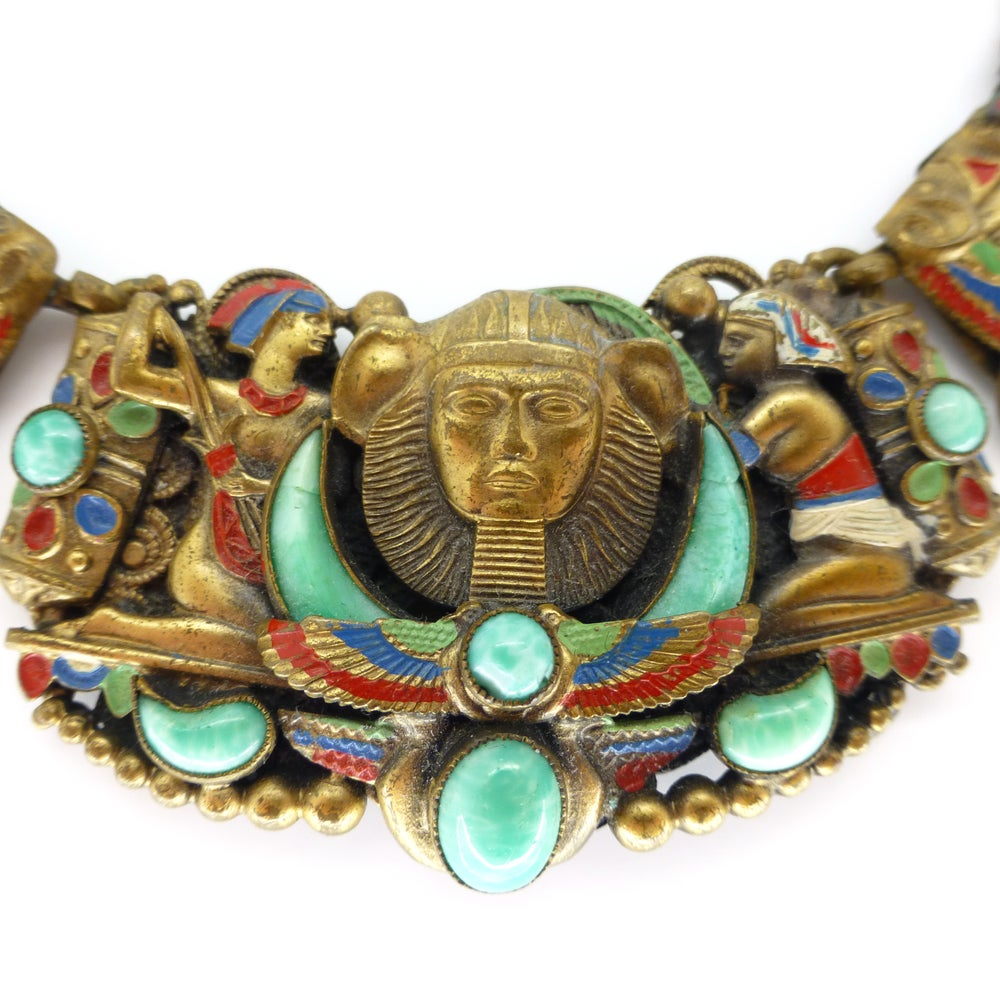 Antique Art Deco Neiger Egyptian Revival Pharaoh Peking Glass Winged Necklace