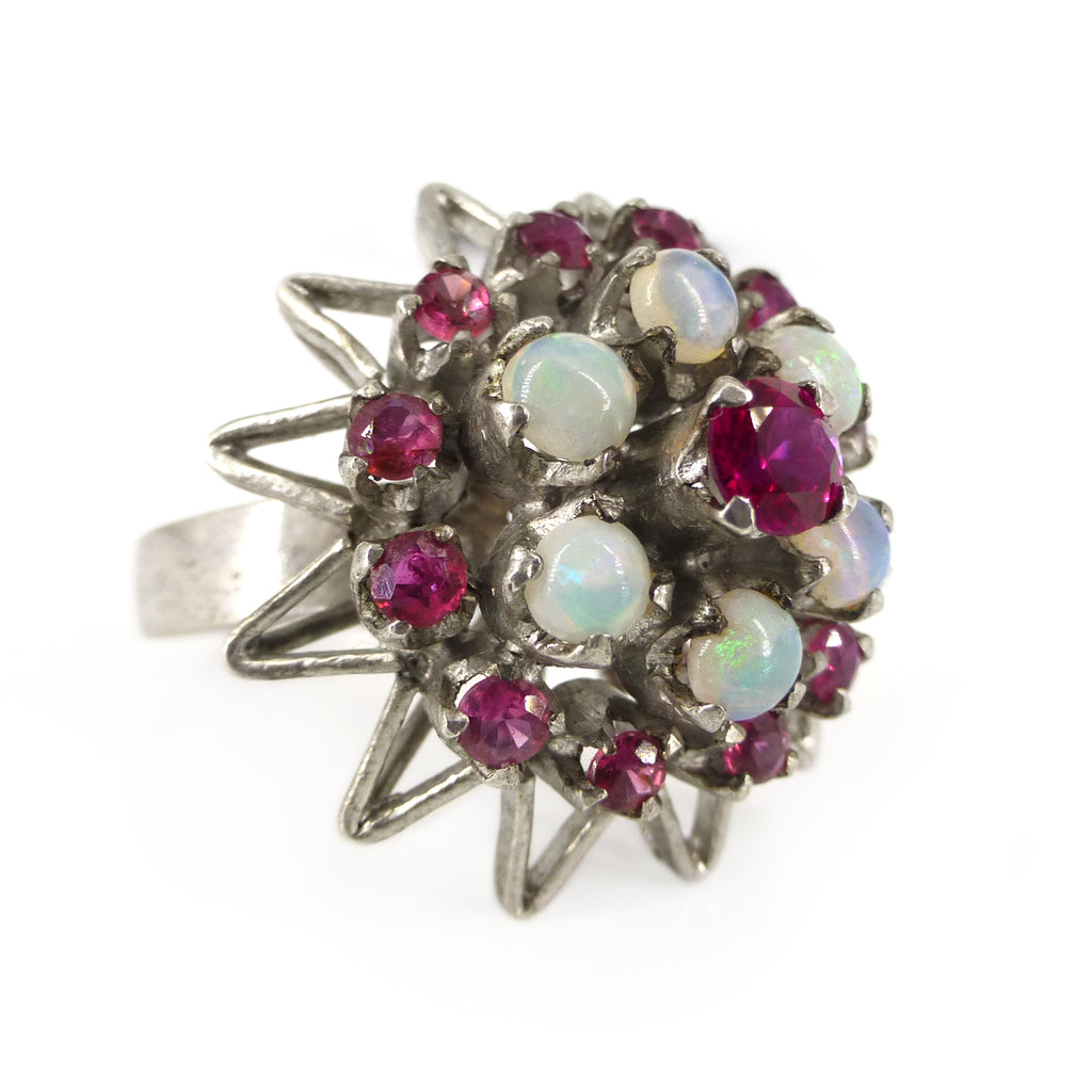 Vintage Mid Century Solid Silver Opal & Ruby Cocktail Ring