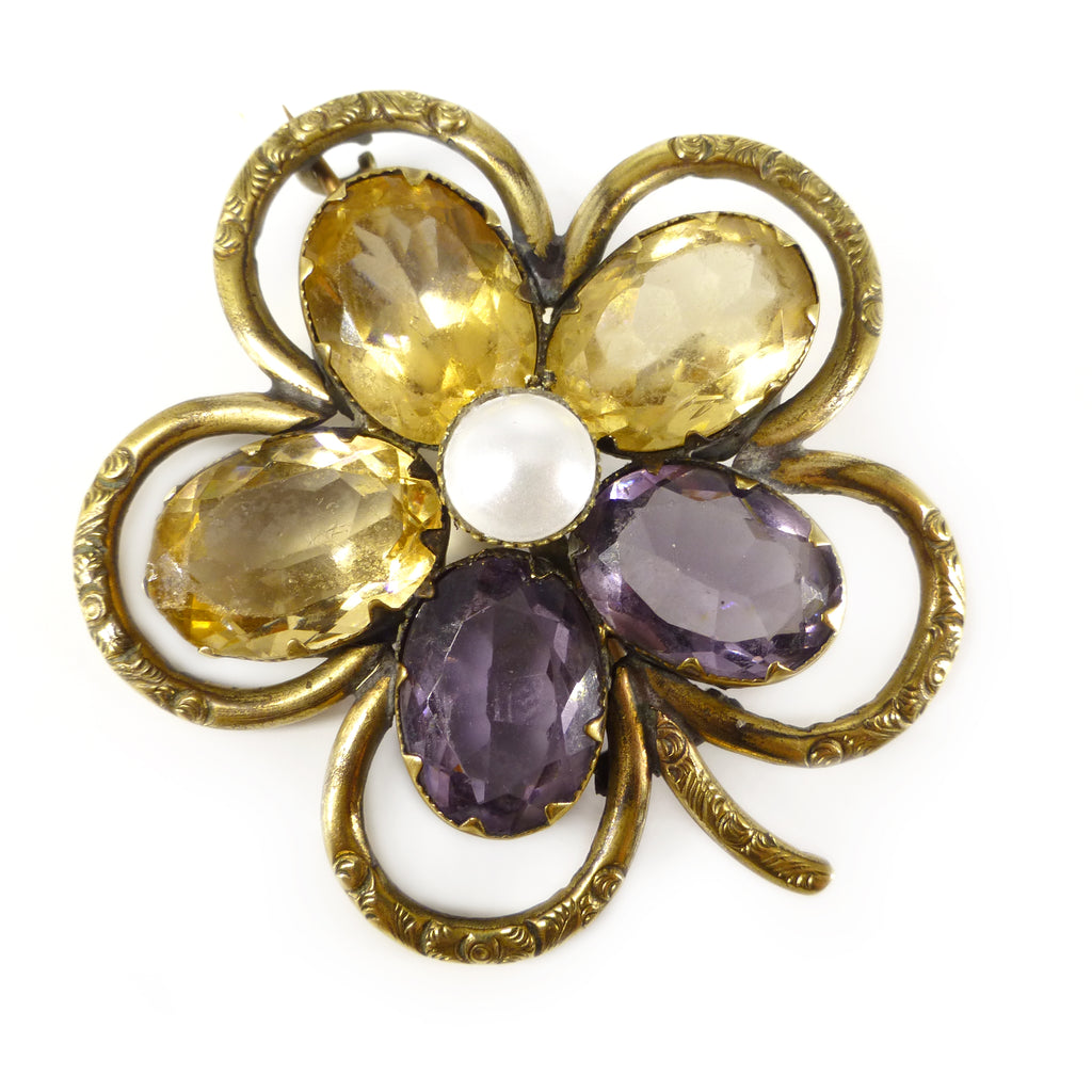 Antique Victorian Georgian Inspired Gold Filled Amethyst & Citrine Glass Pansy Brooch