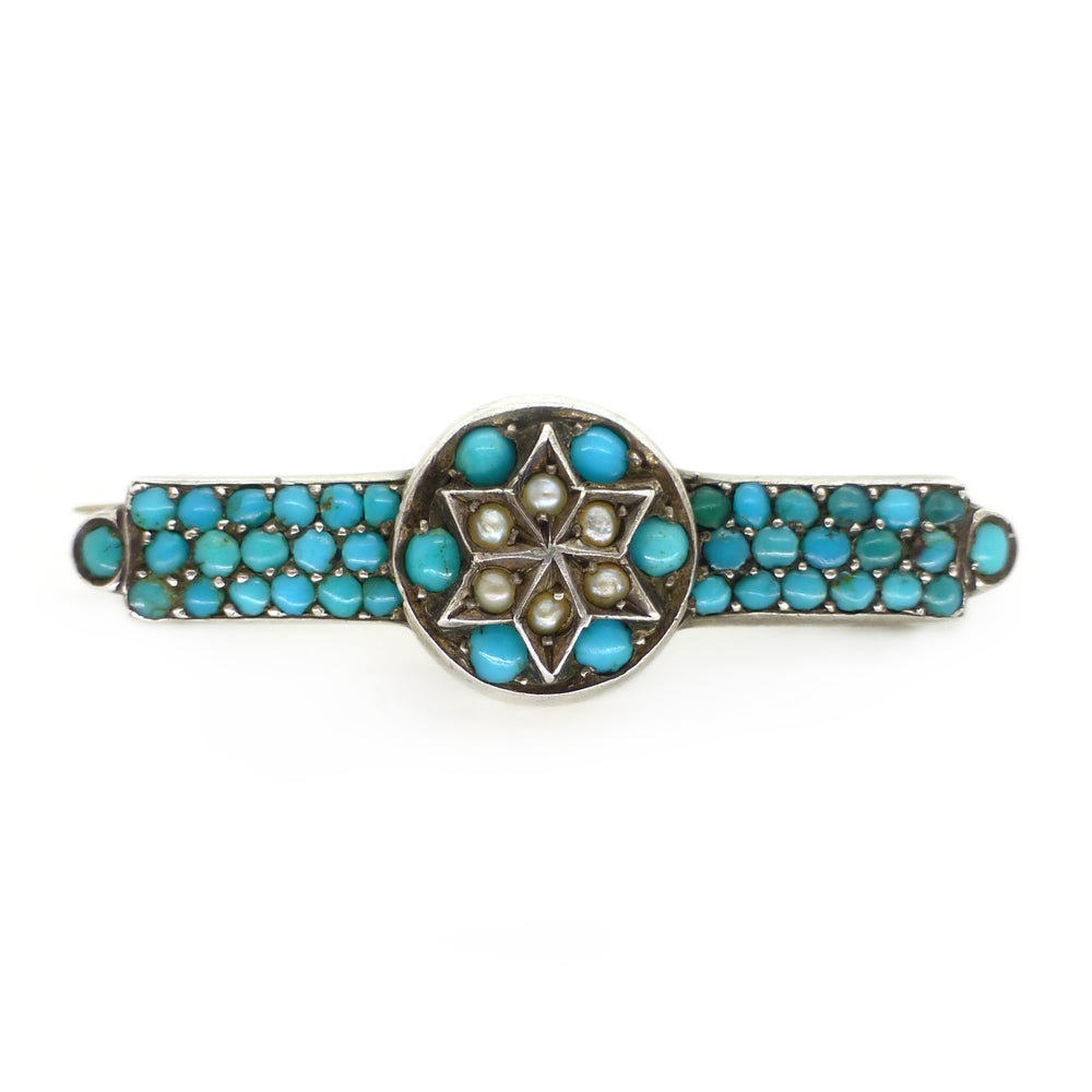 Antique Victorian Martin Mayer Solid Silver Turquoise & Pearl Star Brooch