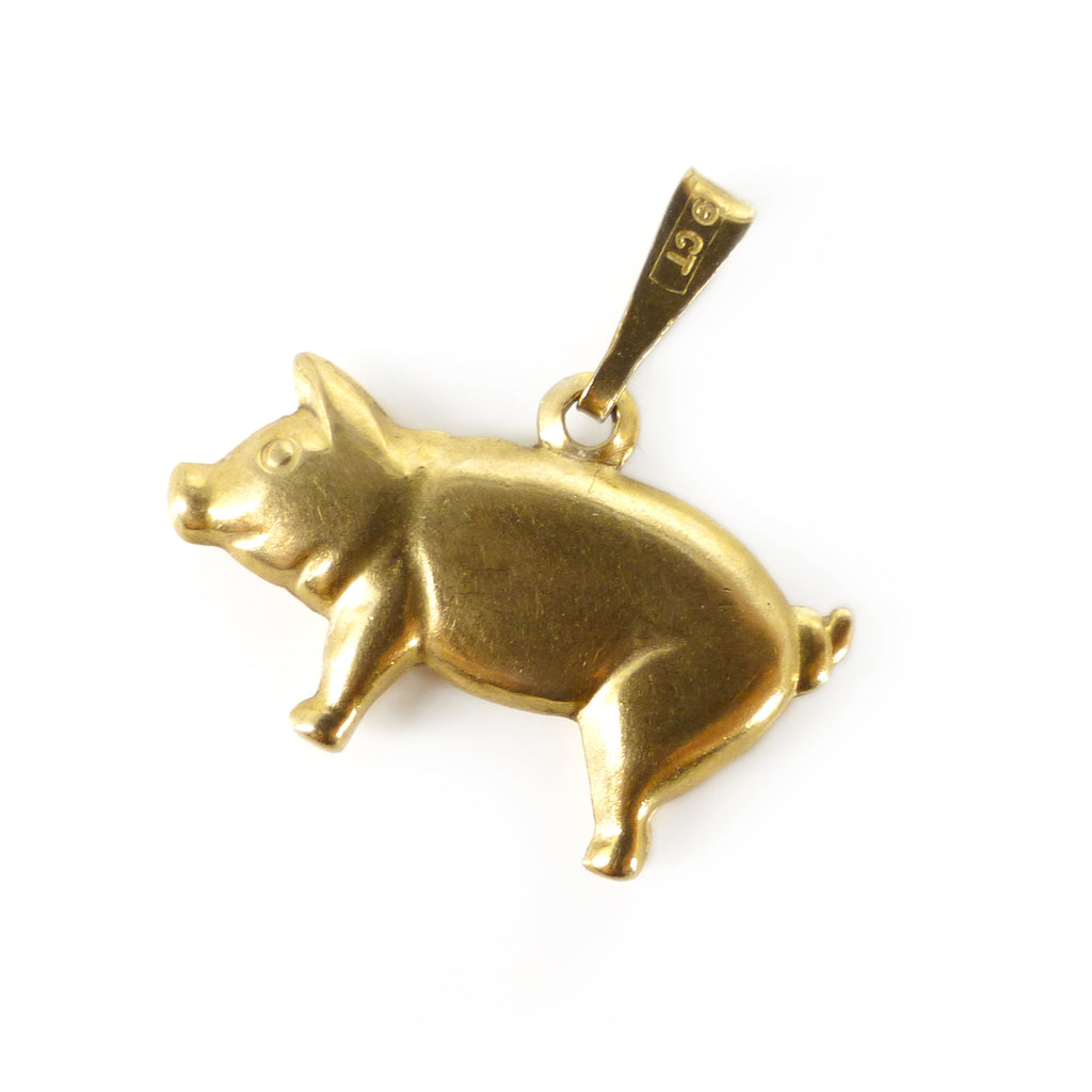 Vintage 9ct Gold Little Pig Lucky Charm