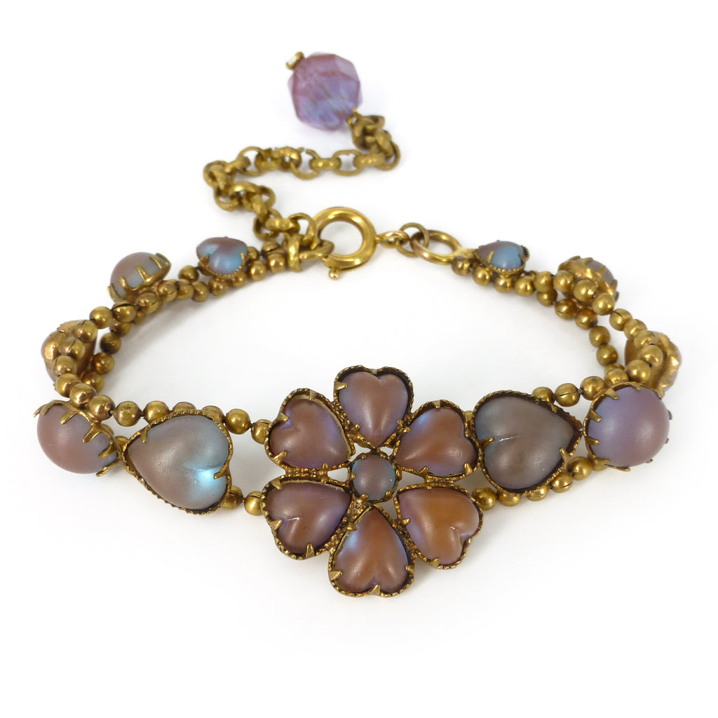 Antique Edwardian Saphiret Glass Floral Heart Bracelet