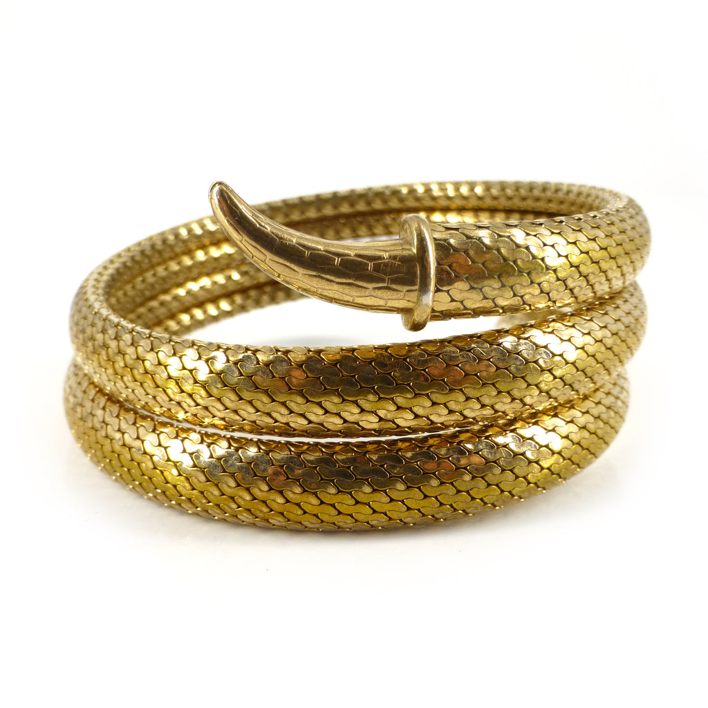 Antique Art Deco Rolled Gold Snake Triple Row Bracelet Bangle (Boxed)