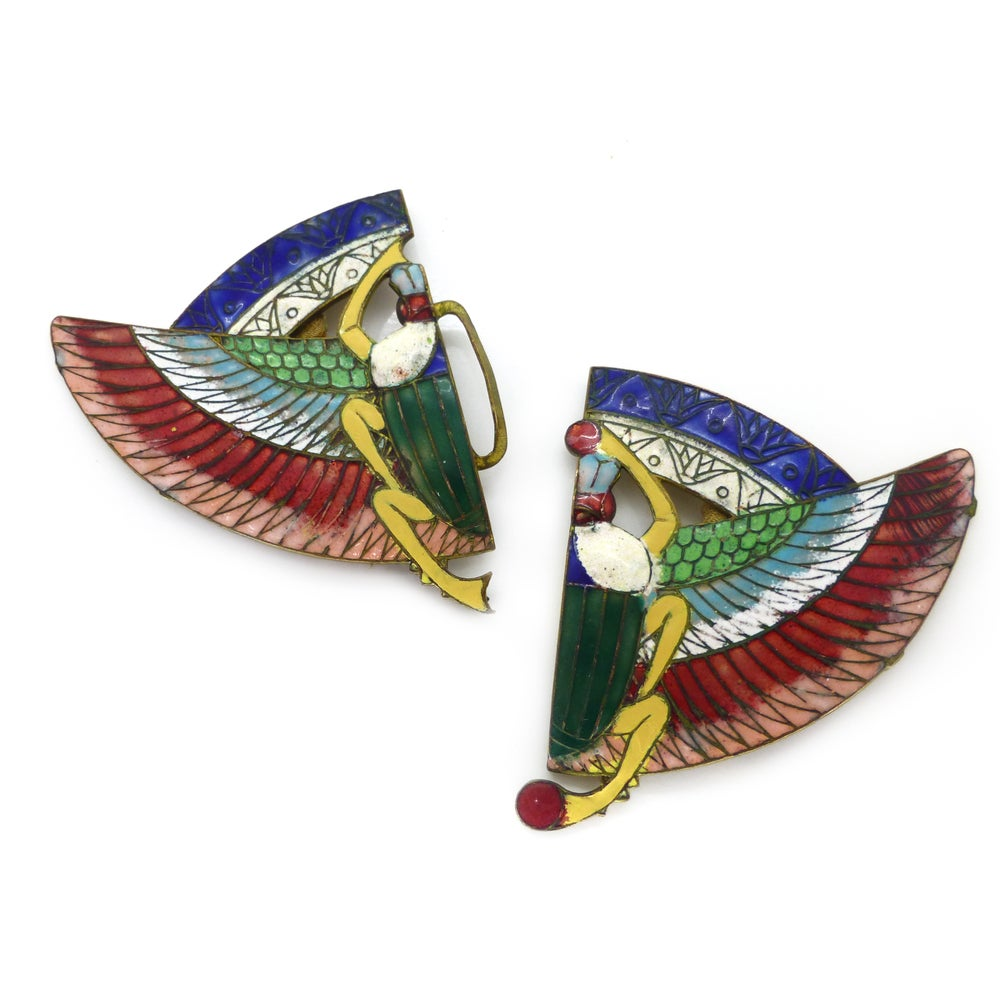 Antque Art Deco Enamel Egyptian Revival Enamel Rainbow Scarab Buckle