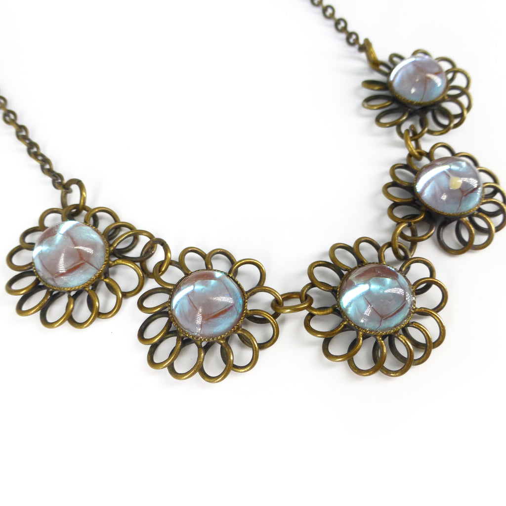 Vintage Mid Century German Sappharine Saphiret Flower Glass Cabochon Necklace