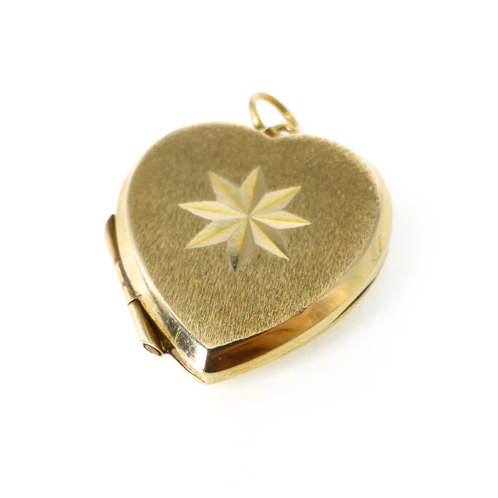 Vintage Mid Century Gold Back & Front Heart Shaped Star Locket